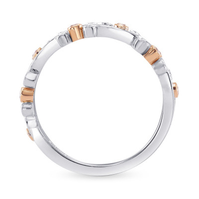 Fancy Pink Brilliant Cut  Band Ring (0.09Ct TW)