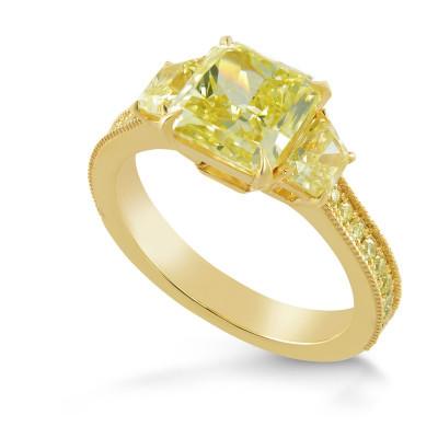 Fancy Yellow Radiant Three Stone Ring (3.19Ct TW)