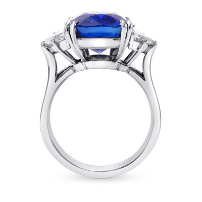 Extraordinary Cushion Blue Sapphire and Diamond 3 Stone  Ring (14.63Ct TW)