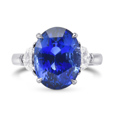 Extraordinary Oval Blue Sapphire and Diamond 3 Stone Ring (9.71Ct TW)