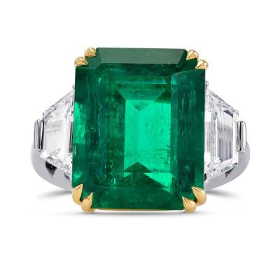 Extraordinary Emerald shape Green Emerald and Diamond 3 Stone Ring (16.48Ct TW)