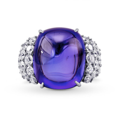 Extraordinary Cabochon Tanzanite and Diamond Ring (51.73Ct TW)