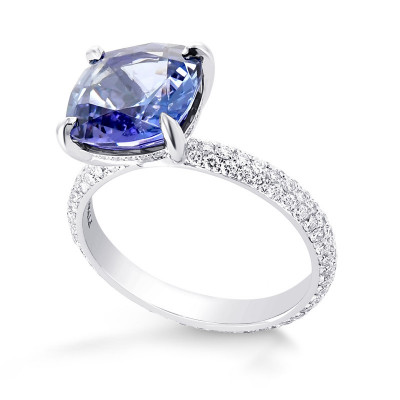 Cushion Violet Tanzanite Ring with Full Pave Diamond Rounded Shank (5.20Ct TW)