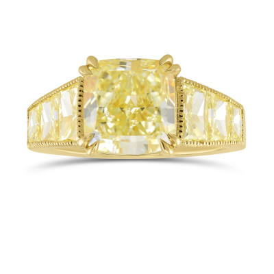 Fancy Light Yellow Trapezoid Side Stone Ring (5.32Ct TW)