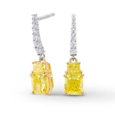 Fancy Intense Yellow Cushion and Vivid Yellow Taper Diamond Drop Earrings (2.83Ct TW)