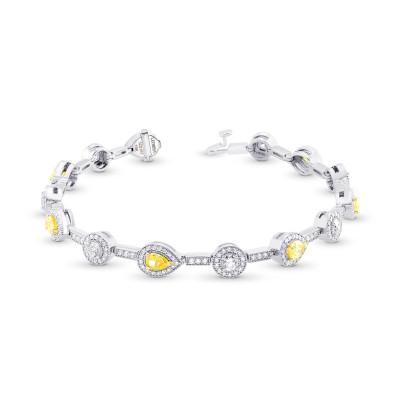 Fancy Yellow and White Diamond Halo Milgrain Bracelet (4.18Ct TW)