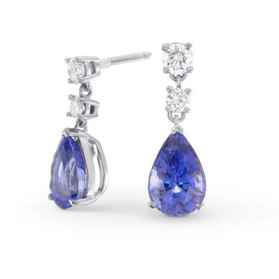 Pear Sapphire & Diamond Drop Earrings (3.74Ct TW)