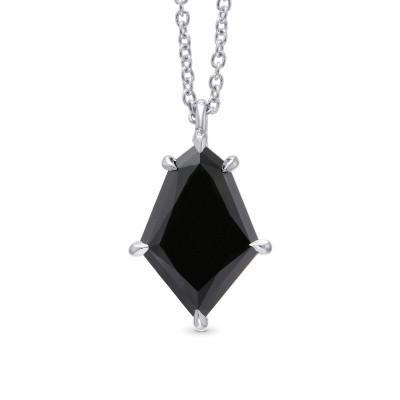 Natural Unheated Black Diamond Kite Shaped Solitaire Pendant (2.34Ct)