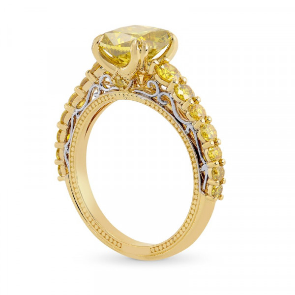 Fancy Deep Brownish Yellow  Radiant Side Stone Ring (2.88Ct TW)