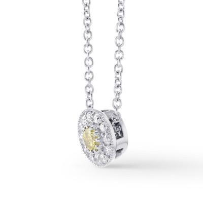 Fancy Intense Yellow & Round Pave Diamond Pendant (0.22Ct TW)