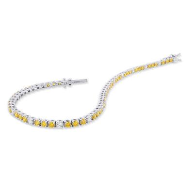Round Brilliant Yellow and White Tennis Bracelet (3.37Ct TW)