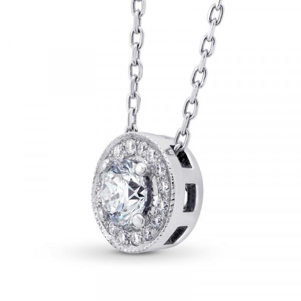 Collection White Round Brilliant Diamond Halo Pendant (0.41Ct TW)