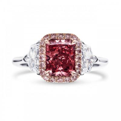Extraordinary Fancy Purplish Red Diamond Halo Side Stone Ring (2.24Ct TW)