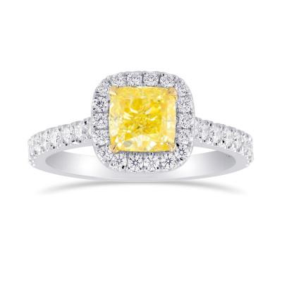 Fancy Intense Yellow Cushion Diamond Halo Ring (1.46Ct TW)