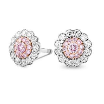 Fancy Pink Diamond Floral Earrings (0.63Ct TW)