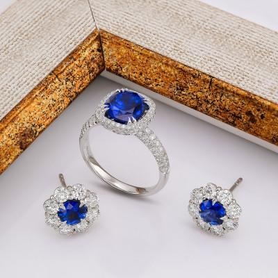 Royal Blue Cushion Sapphire and Diamond Extraordinary Ring (3.89Ct TW)