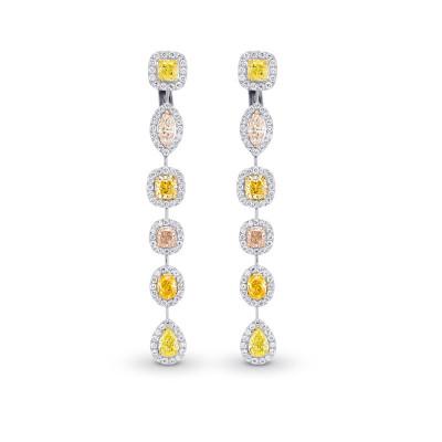Extraordinary Multi-Color Diamond Drop Halo Earrings (6.89Ct TW)