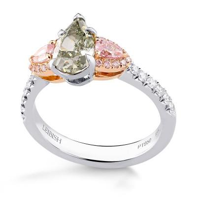 Chameleon and Pink Diamond Three Stone Ring (1.70Ct TW)