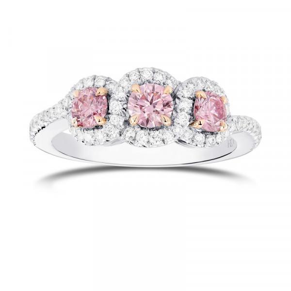 Argyle Fancy Pink Diamond 3 Stone Ring (0.96Ct TW)