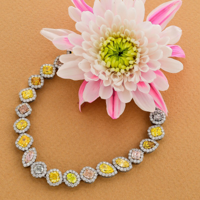Multicolored and Mixed Shape Couture Halo Diamond Bracelet (11.46Ct TW)