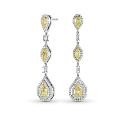Fancy Light Yellow Marquise, Pear and Kite Diamond Drop Earrings (4.28Ct TW)