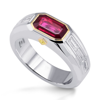 Pigeon Blood Red Ruby Mens Couture Ring (2.57Ct TW)