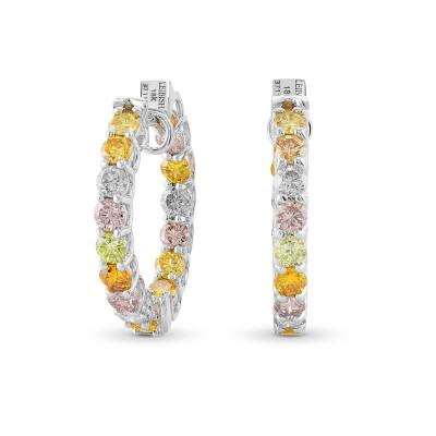 Multicolored Diamond Hoop Earrings (2.46Ct TW)