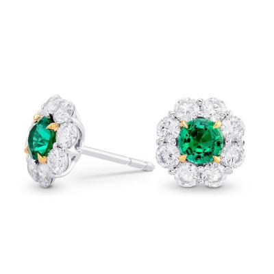 Green Emerald & Diamond Round Brilliant Halo Earrings (2.59Ct TW)