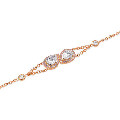 Pear Shape Collection Color and Fancy Pink Diamond Halo Bracelet (1.60Ct TW)
