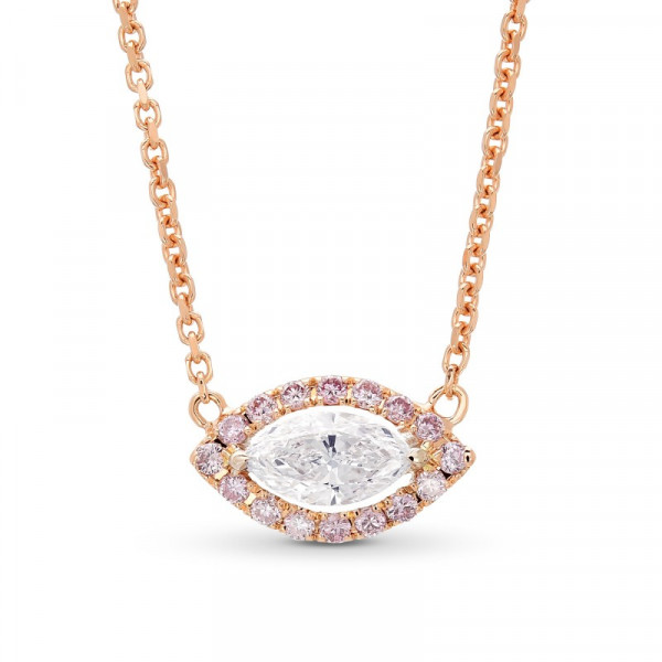 Collection Marquise and Fancy Pink Diamond Halo Pendant (0.35Ct TW)