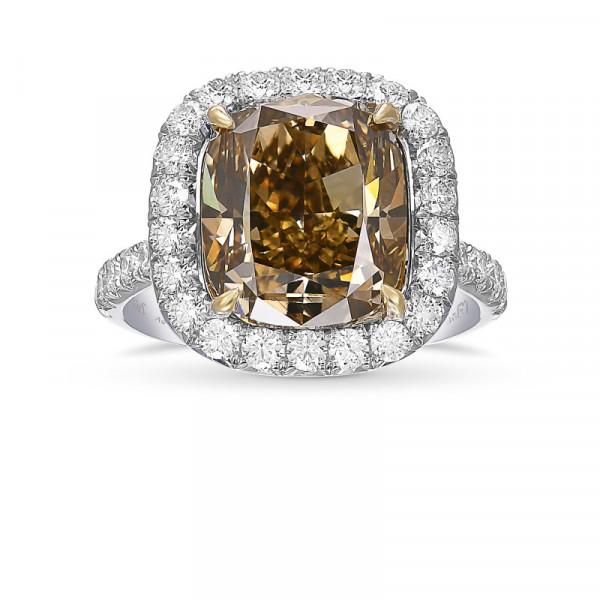 Fancy Dark Yellowish Brown Cushion Diamond Halo Ring (5.85Ct TW)