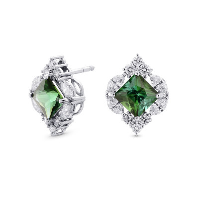 Couture Green Tourmaline and Diamond Stud Earrings (4.00Ct TW)