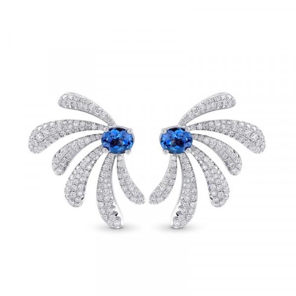 Aquamarine and Diamond Couture Earrings (2.71Ct TW)