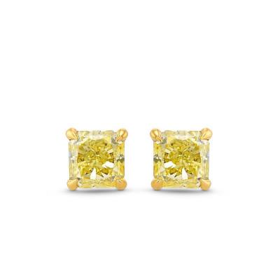 Fancy Yellow Radiant Diamond Stud Earrings (0.56Ct TW)
