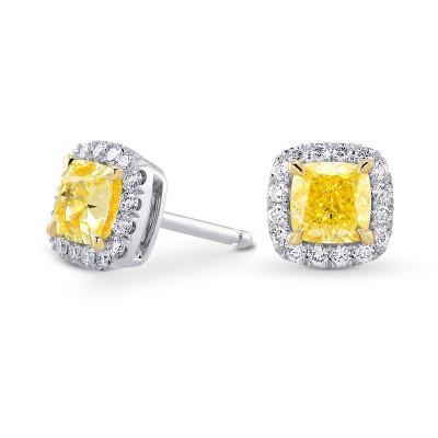 Fancy Intense Yellow Cushion Halo Diamond Earrings (1.74Ct TW)