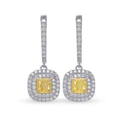 Fancy Light Yellow Diamond Halo Drop Earrings (1.84Ct TW)