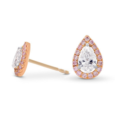 Pear shape Collection and Fancy Pink Halo Diamond Stud  Earrings (0.73Ct TW)