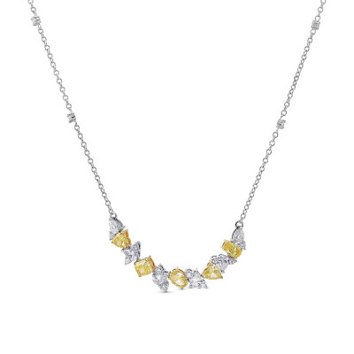 Fancy Yellow and Collection Mix Shape Diamond Necklace (2.80Ct TW)