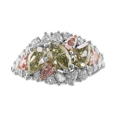 Extraordinary Mix Shape and Color Diamond Bombe Ring (3.07Ct TW)