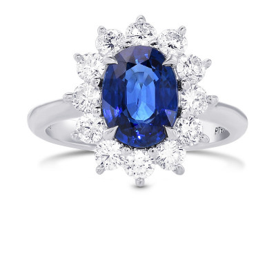 Blue Sapphire Oval and Diamond Halo Ring (3.33Ct TW)