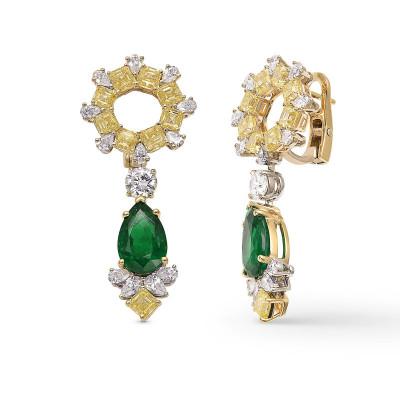 Extraordinary Green Emerald and Diamond Halo Drop Earrings (12.70Ct TW)