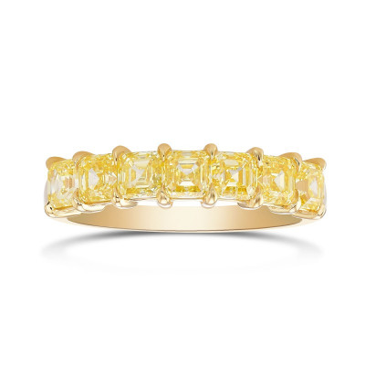 Fancy Intense Yellow AsscherDiamond Band Ring (1.76Ct TW)