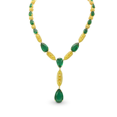 Spectacular Emerald and Fancy Vivid Yellow Diamond Necklace (80.53Ct TW)