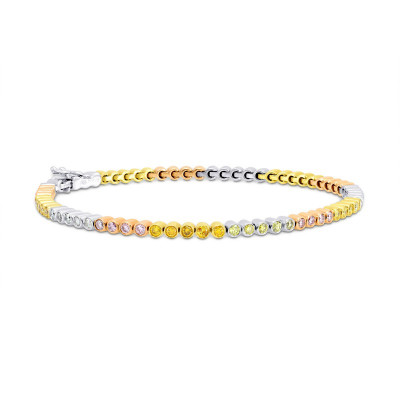 70 Stone Multicolored Diamond Tennis Bracelet (2.09Ct TW)