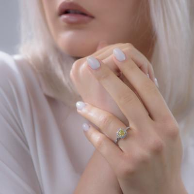 Fancy Intense Yellow Cushion Halo Diamond Ring (1.40Ct TW)