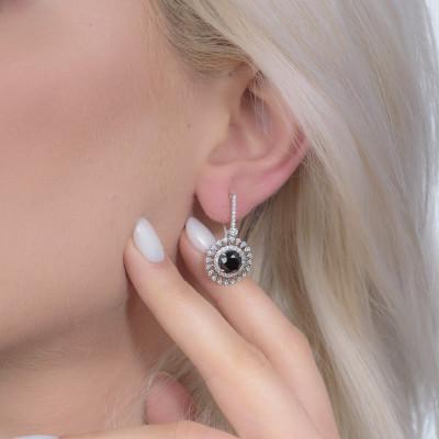 Natural Fancy  Black Diamond Filigree Halo Drop Earrings (4.89Ct TW)