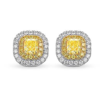 Fancy Intense Yellow Radiant Double Halo Earrings (1.84Ct TW)