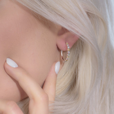 Multicolor Diamond Hoop Drop Earrings (0.89Ct TW)