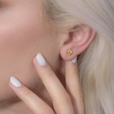 Fancy Deep Yellow Round Stud Earrings (1.22Ct TW)