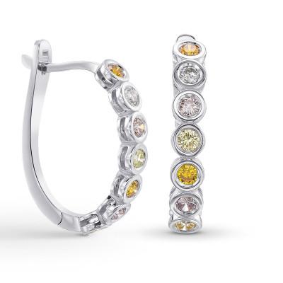 Multicolor Diamond Hoop Drop Earrings (0.77Ct TW)